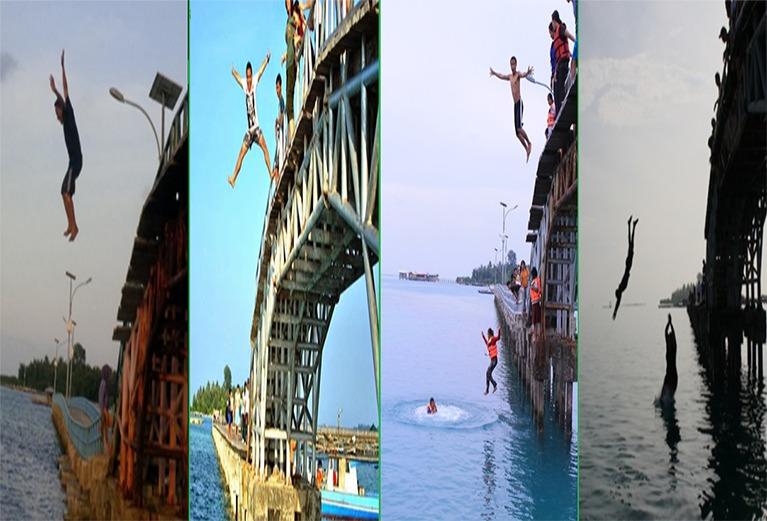 expresi saat lompat jembatan cinta pulau tidung